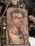 Romersk era målat mammakistalock från forntida Egypten Royaltyfria Bilder