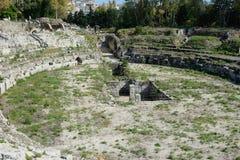 Romersk gladiator- ampitheatre i Syracuse royaltyfria foton