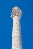 Romersk kolonn. Brindisi. Puglia. Italien. Arkivbild