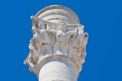 Romersk kolonn. Brindisi. Puglia. Italien. Fotografering för Bildbyråer