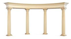 Romersk kolonnport på vit med den snabba banan 3d Arkivbild