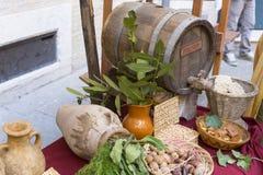 Romersk mat från välden Arkivfoto