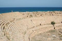 Romersk stad av Leptis Magna, Libyen Arkivbilder