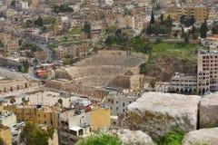 Romersk teater i Amman, Jordanien Fotografering för Bildbyråer