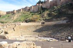 Romersk teater Malaga, Spanien Arkivfoton