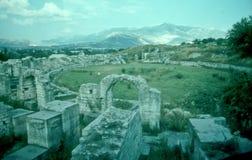 Romerska Ampitheater fördärvar i Salona arkivbild
