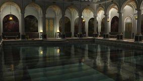 Romerska bad på natten Arkivfoton
