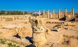 Romerska kolonner i arkeologiska Paphos parkerar Fotografering för Bildbyråer