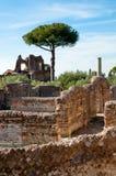 Romerska konstruktioner fördärvar på villan Adriana arkivbilder