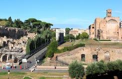 Romerskt fora och Templum Veneris, Rome, Italien Royaltyfria Bilder