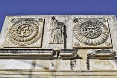 Romerskt forum i den Merida detaljen Arkivbild