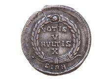 Romerskt silvermynt Arkivbilder
