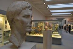 Romerskt statyhuvud British Museum London Fotografering för Bildbyråer