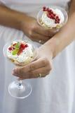 Romig dessert Stock Afbeeldingen