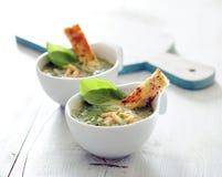 Romige broccolisoep met knapperige knoflookcroutons royalty-vrije stock afbeelding