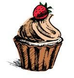 Romige kopcake met heerlijke bes royalty-vrije illustratie