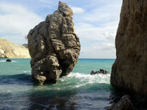 Romios Rock - Paphos, Cyprus. Monumental rocks in sea in Pafos, Cyprus Royalty Free Stock Photo