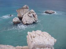 Romiou tou της Petra, θρυλικός τόπος γεννήσεως της θεάς aphrodite στην Κύπρο Στοκ Εικόνες