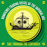 Romisches trading vessel of the imperial age. Sail through the centuries. Romisches trading vessel of the imperial age. Vector  illustration Royalty Free Stock Photos