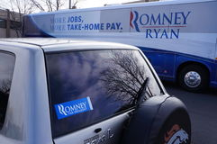 Romney Campaign Bus and Bumper sticker. Romney Ryan Campaign bus arriving at Adams County Republican Headquarters Oct 26 2012. Onboard is Josh Romney , Mitt Royalty Free Stock Photography