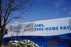 Romney Campaign Bus and snow Stock Photography