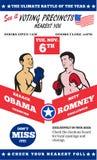 Romney contra el boxeo americano 2012 de las elecciones de Obama Fotos de archivo libres de regalías