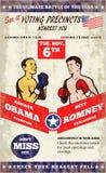 Romney contra el boxeo americano 2012 de las elecciones de Obama Imagenes de archivo