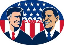 Romney Vs Obama American Elections 2012. Illustration of American Presidential Republican candidate Mitt Romney and President Barack Obama with stars and stripes Royalty Free Stock Image