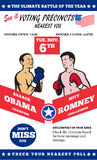 Romney Vs Obama American Elections 2012 Boxing. Poster illustration of American Presidential Republican candidate Mitt Romney and President Barack Obama as stock illustration
