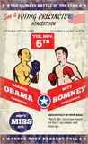 Romney Vs Obama American Elections 2012 Boxing. Poster illustration of American Presidential Republican candidate Mitt Romney and President Barack Obama as Stock Images