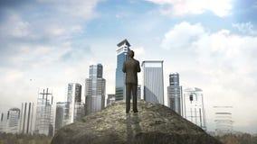 Rompa el muro de cemento Hombre de negocios que se coloca delante del acantilado edificios de la estructura libre illustration