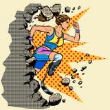 Rompe el corredor de la mujer discapacitada de la pared con las prótesis de la pierna que corren adelante Competencia de deportes stock de ilustración