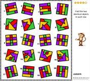 Rompecabezas abstracto de la imagen - encuentre dos imágenes idénticas en cada fila Foto de archivo