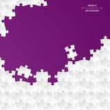 Rompecabezas blanco abstracto del grupo con el backgroun violeta Imagen de archivo libre de regalías