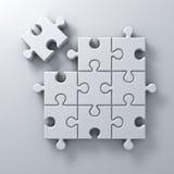 Rompecabezas blanco que el pedazo pasado se destaca del diverso concepto de la muchedumbre en el fondo blanco de la pared con la  ilustración del vector