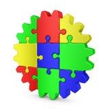 Rompecabezas coloreados engranaje Foto de archivo libre de regalías