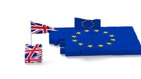 Rompecabezas con s?mbolos de la uni?n europea y del Reino Unido con las banderas que se convierten stock de ilustración