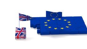Rompecabezas con s?mbolos de la uni?n europea y del Reino Unido con las banderas que se convierten ilustración del vector