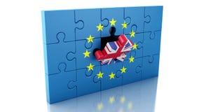 rompecabezas 3d con la bandera de Gran Bretaña y de unión europea stock de ilustración