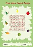 rompecabezas de la búsqueda de la palabra de la fruta para los niños Fotos de archivo libres de regalías
