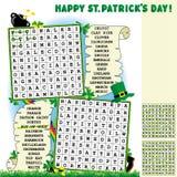 Rompecabezas de la búsqueda de la palabra del día del St. Patrick Foto de archivo libre de regalías