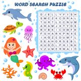 Rompecabezas de la búsqueda de la palabra Juego de la educación del vector para los niños Animales de mar libre illustration