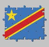 Rompecabezas de la bandera del Dr. Congo en campo del azul de cielo con la raya y la estrella diagonalmente rojas y amarillas ilustración del vector