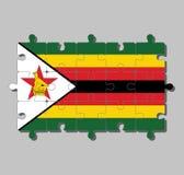 Rompecabezas de la bandera de Zimbabwe en siete rayas horizontales de negro rojo amarillo verde con un blanco negro-afilado con u libre illustration