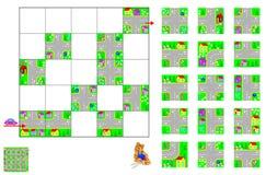 Rompecabezas de la lógica con el laberinto Corte los cuadrados y póngalos correctamente Necesite pasar en coche a través de las c Imagen de archivo libre de regalías