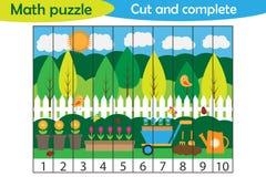 Rompecabezas de la matemáticas, imagen del jardín de la primavera en el estilo de la historieta, juego de la educación para el de ilustración del vector