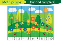 Rompecabezas de la matemáticas, imagen de la primavera en el estilo de la historieta, juego de la educación para el desarrollo de libre illustration