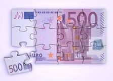 Rompecabezas de la nota del euro 500 - visión superior Imagen de archivo libre de regalías