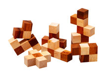 Rompecabezas de las barras de madera Imágenes de archivo libres de regalías
