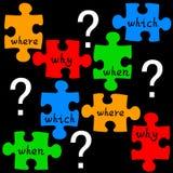 Rompecabezas de las preguntas stock de ilustración